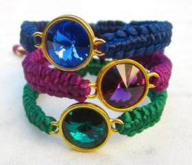 Swarovski crystal macrame bracelet friendship bracelet rivoli in jewel shades - MADE TO ORDER