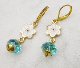 Daisy earrings evil eye blue crystal earrings romantic and cute