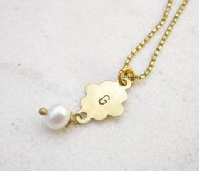Initial hand stampd necklace personalized monogram necklace with freshwater pearl MADE TO ORDER