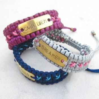 CUSTOMIZED hand stamped brass tag bracelet personalized friendship bracelet cuff with macrame strap MADE TO ORDER
